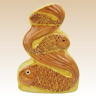 Three Entwined Fish Ceramic Art Sculpture Figure