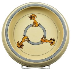 Roseville Pottery 1916 Juvenile Puppy Baby Rimmed Plate Bowl