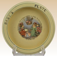 Roseville Pottery 1912 Nursery Rhyme Old Woman Baby's Plate Rimmed Low Bowl