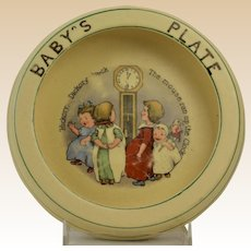 Roseville Pottery 1912 Nursery Rhyme Hickory Dickory Baby's Plate Rimmed Low Bowl