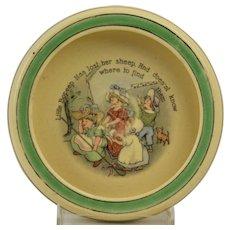 Roseville Pottery 1912 Nursery Rhyme Bo Peep Rimmed Low Bowl