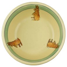 Roseville Pottery 1916 Juvenile Baby Rabbit Bunny Bowl No 2