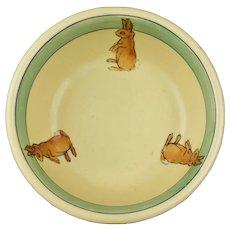 Roseville Pottery 1916 Juvenile Baby Rabbit Bunny Bowl No 2