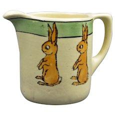 Roseville Pottery 1910-20 Juvenile Baby Bunny Milk Pitcher #6M
