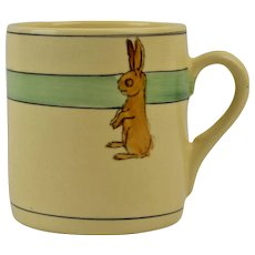 Roseville Pottery 1910-20 Juvenile Child's Bunny Mug #1