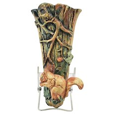 Weller Pottery 1920-33 Woodcraft Squirrel Wall Pocket