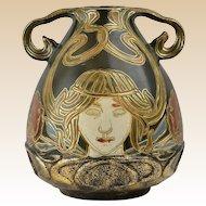 Owens Pottery Vase, 1900 Henri Deux Art Nouveau 2 Handle Vase