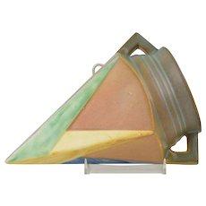 Roseville Pottery Vase, 1924 Futura Orangy-Tan Matte Wall Pocket #1261-8
