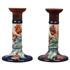 Moorcroft Pottery 1980's Tulip Tall Candle Holders Artist Signed