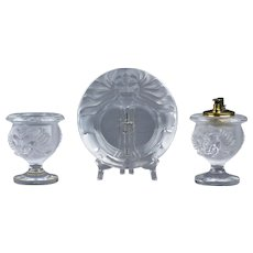 Lalique Crystal pre-1978 Tete DeLion Smoking Set Ashtray Lighter Holder