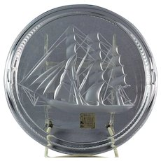 Lalique Crystal pre-1978 Clipper Sailing Ship Cigar Ashtray