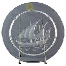 Lalique Crystal Pre-1978 Nautical Columbus Ship Luncheon Plate (No Cross)