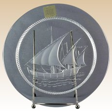 Lalique Crystal Pre-1978 Nautical Columbus Ship Luncheon Plate (No Cross)