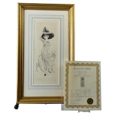 Louis Icart (Helli) 1910 'Odette' Etching Framed Signed Limited Edition RARE