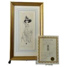 Louis Icart (Helli) 1910 'Odette' Etching Framed Signed Limited Edition RARE