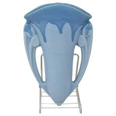 Roseville Pottery 1910 Carnelian I Blue Drip over Blue Wall Pocket #1251-8