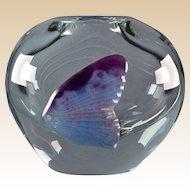 Daum Crystal Pate de Verre Purple Fish Oval Vase