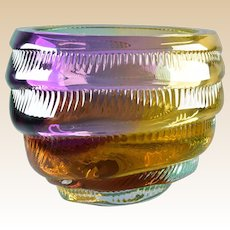 Leon Applebaum 1970s Multi-color Textured Swirl Art Glass Bowl