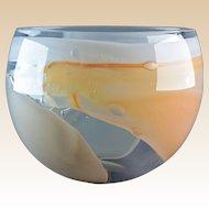 Leon Applebaum 1970s Peach White Lava Art Glass Bowl