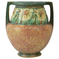Roseville Pottery 1922 Dahlrose Double Handle Vase #367-8