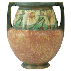 Roseville Pottery 1922 Dahlrose Double Handle Vase #367-8