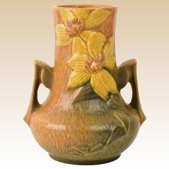 Roseville Pottery 1944 Autumn Brown Clematis Vase #106-7