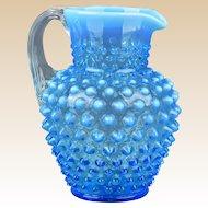 Fenton Glass 1940's Blue Opalescent Hobnail Jug 5 1/2#389