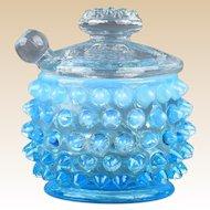 Fenton Glass 1940's Blue Opalescent Hobnail Mustard & Spoon #389