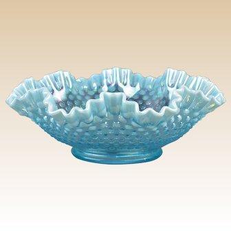 Fenton Glass 1970 Blue Opalescent Hobnail Ruffle Rim Console Bowl