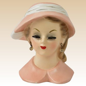 Napco Lady Head Vase 1960 Pink Barbie 4897B