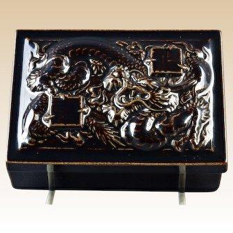 Rookwood Pottery1950 Gloss Brown Dragons Trinket Box #7079
