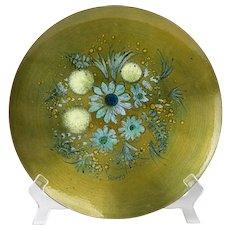 Sascha Brastoff Mid Century Modern Metal Enamel Floral Hanging Charger #4HT