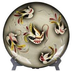 Sascha Brastoff Mid Century Modern Gloss Gray Jewel Birds Plate #050