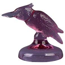 Heisey Glass Lavender Ice Kingfisher Figure HCA 93 D