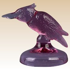 Heisey Glass Lavender Ice Kingfisher Figure HCA 93 D