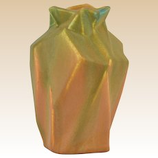 Muncie Pottery 1928 Rombic Money Bag Green over Pumpkin Vase #301-6