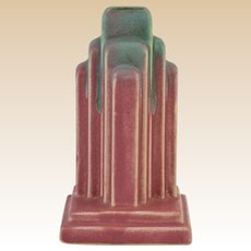 Muncie Pottery 1928 Green over Rose Art Deco Skyscraper Lamp Base #U 45-5