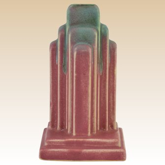 Muncie Pottery 1928 Green over Rose Art Deco Skyscraper Lamp Base #U 45-5