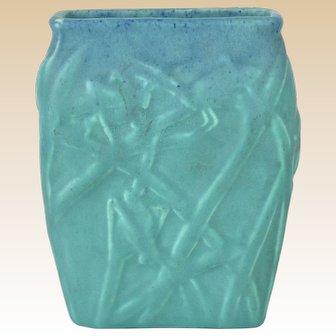 Muncie Pottery 1929 Blue Over Green Katydid Vase # 194-6 Haley Design