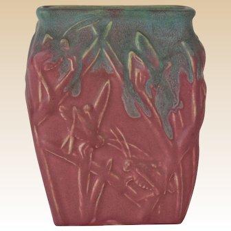 Muncie Pottery 1929 Blue Over Rose Katydid Vase # 194-6 Haley Design