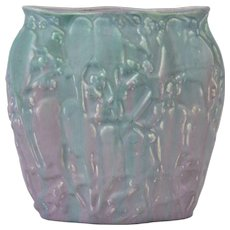 Muncie Pottery 1929 Green Over Lilac Lovebirds Figural Vase #193-9 Haley Design
