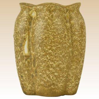Muncie Pottery 1929 Gold Tone Pepo (Melon) Vase # 191-6 Haley Design