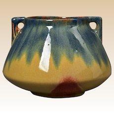 Muncie Pottery 1929 Blue Peachskin Handled Bowl #182-8