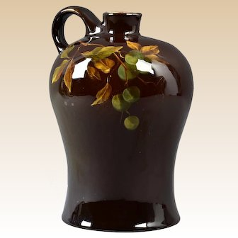 Owens Pottery 1901 Light Spirit Jug with Blueberry Decoration #793 JBO