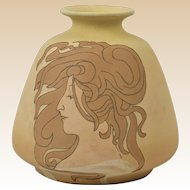 Owens Pottery 1902 Matt Utopian Art Nouveau Girl Vase #1114