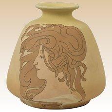Owens Pottery 1902 Matt Utopian Art Nouveau Girl Vase #1114