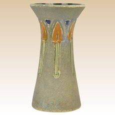 Roseville Pottery 1916 Arts and Crafts Mostique Corseted Vase #164-10 with Stamp