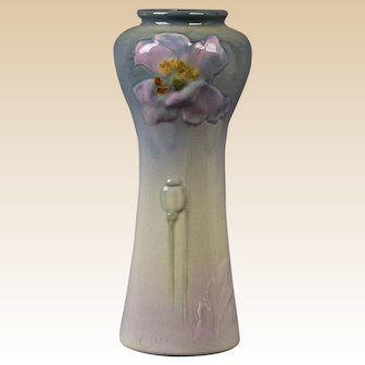 Weller Pottery 906 Etna Pink Poppy Vase Signed