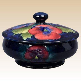 Moorcroft Pottery 1990 Cobalt Blue Hibiscus Dresser Box