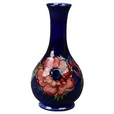 Moorcroft Pottery After 1987 Hibiscus Blue Cobalt Ballister Vase